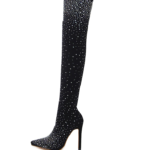 Thigh Heel-Crystal Stretch Fabric