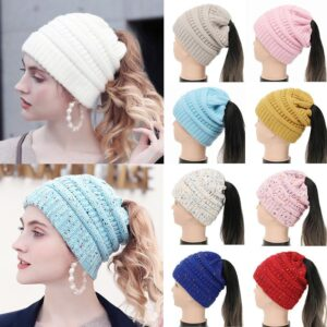 WOMEN CUTE PONYTAIL BEANIES